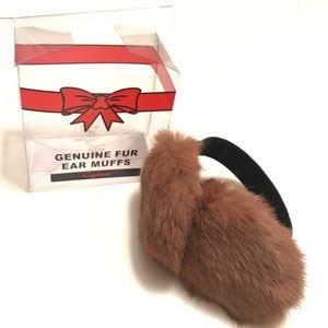 Cejon Genuine fur ear muffs with box NWOT